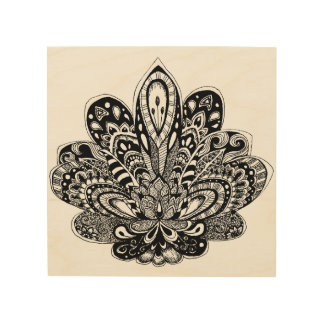 Detailed zendoodle Lotus Wood Print