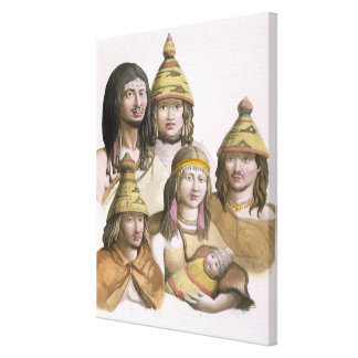 Details of headdresses in North West America (colo Stretched Canvas Prints