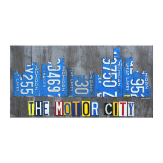 Detroit City Skyline Recycled License Plate Art Canvas Print