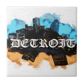 Detroit Graffiti Small Square Tile