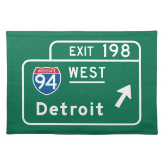 Detroit, MI Road Sign Placemat