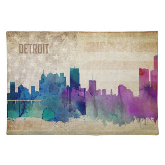 Detroit, MI | Watercolor City Skyline Placemat