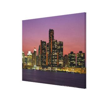 Detroit, Michigan Skyline at Night Canvas Print