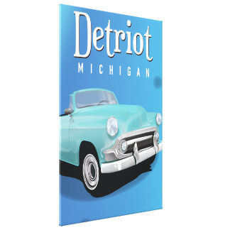 Detroit Michigan USA old Vintage Travel poster Canvas Print