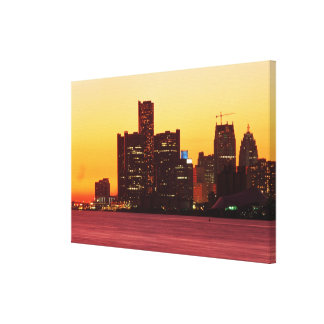 Detroit skyline in colorful sunset canvas print