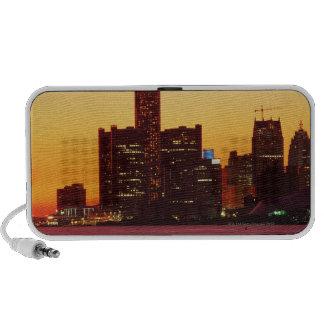 Detroit skyline in colorful sunset iPod speaker