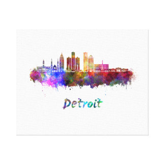 Detroit skyline in watercolor canvas print