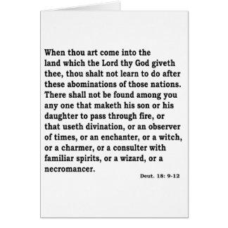 Deut. 18: 9-12 card