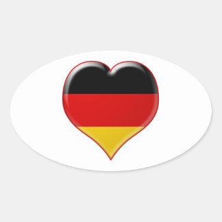Deutsch-Herz-Charme Oval Sticker