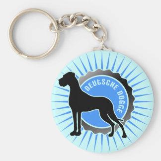 Deutsche Dogge stern blau Basic Round Button Key Ring