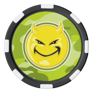 Devil Smiley Face; bright green camo, camouflage Poker Chips