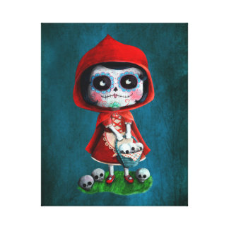 Dia de los Muertos Little Red Riding Hood Canvas Print