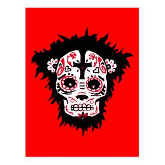 dia de los muertos monkey postcard