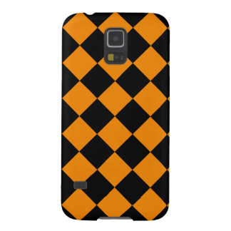 Diag Checkered - Black and Tangerine Cases For Galaxy S5