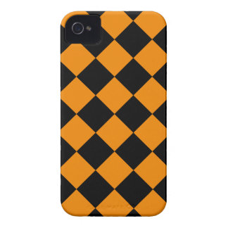 Diag Checkered - Black and Tangerine iPhone 4 Case
