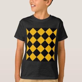 Diag Checkered Large - Black and Amber T-Shirt