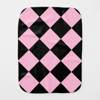 Diag Checkered Large - Black and Cotton Candy Baby Burp Cloths