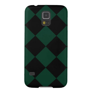 Diag Checkered Large - Black and Dark Green Galaxy S5 Cases