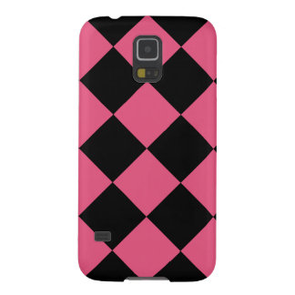 Diag Checkered Large - Black and Dark Pink Case For Galaxy S5