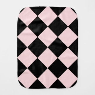 Diag Checkered Large - Black and Pale Pink Burp Cloths