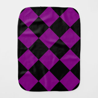 Diag Checkered Large - Black and Purple Burp Cloths