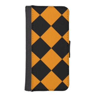 Diag Checkered Large - Black and Tangerine