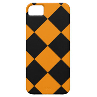 Diag Checkered Large - Black and Tangerine iPhone 5 Cover