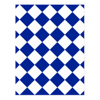 Diag Checkered - White and Imperial Blue Postcard