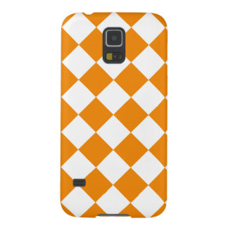 Diag Checkered - White and Tangerine Cases For Galaxy S5
