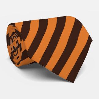 Diagonal Brown and Orange Striped Tie