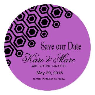 Diagonal Geometric Save the Date | lilac 13 Cm X 13 Cm Square Invitation Card