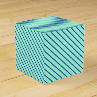 Diagonal pinstripes - aqua  and navy party favor box
