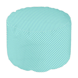 Diagonal pinstripes - aqua  and navy round pouf