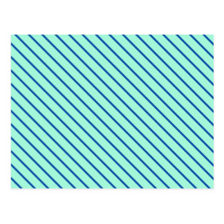Diagonal pinstripes - aqua  and navy post card
