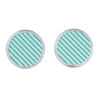 Diagonal pinstripes - aqua  and navy silver finish cufflinks