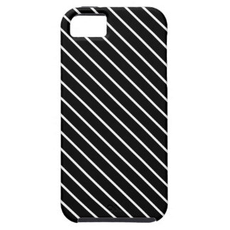 Diagonal pinstripes - black and white iPhone 5 case