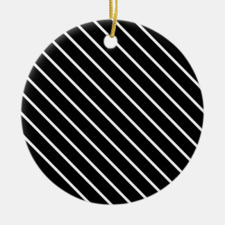 Diagonal pinstripes - black and white christmas tree ornaments
