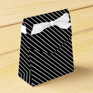 Diagonal pinstripes - black and white party favor box