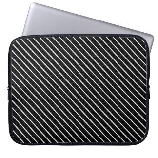 Diagonal pinstripes - black and white laptop computer sleeve