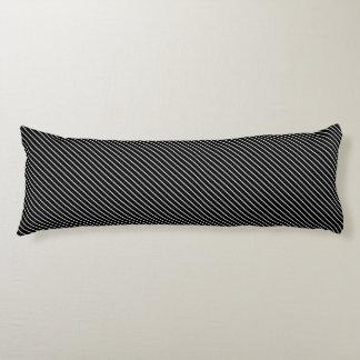 Diagonal pinstripes - black and white body pillow