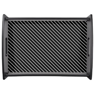 Diagonal pinstripes - black and white service tray