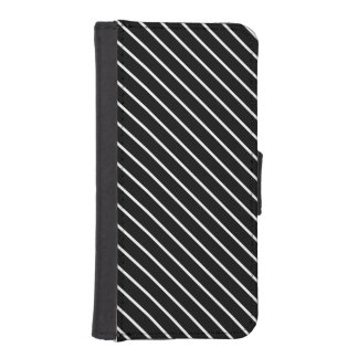 Diagonal pinstripes - black and white phone wallet case