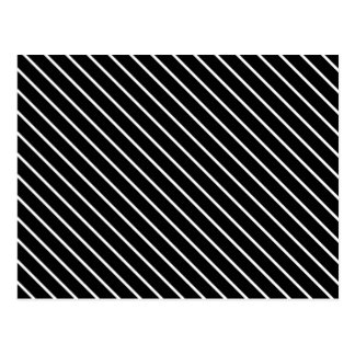 Diagonal pinstripes - black and white postcards