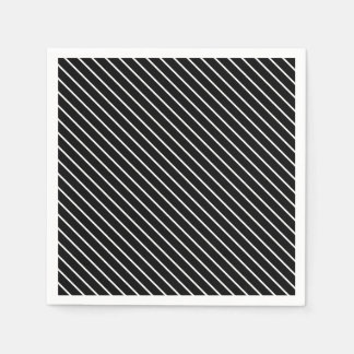 Diagonal pinstripes - black and white paper napkin