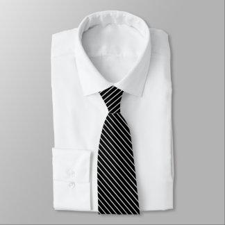 Diagonal pinstripes - black and white tie