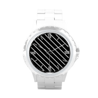 Diagonal pinstripes - black and white wristwatch