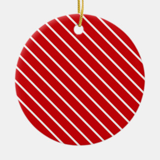 Diagonal pinstripes - deep red and white christmas tree ornaments