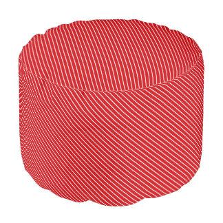 Diagonal pinstripes - deep red and white round pouf