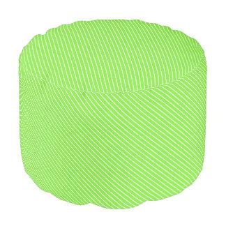 Diagonal pinstripes - lime green and white round pouf
