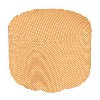Diagonal pinstripes - orange and white round pouf